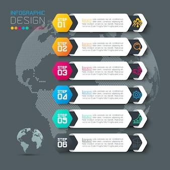 Sei etichette con infografica icona aziendale.