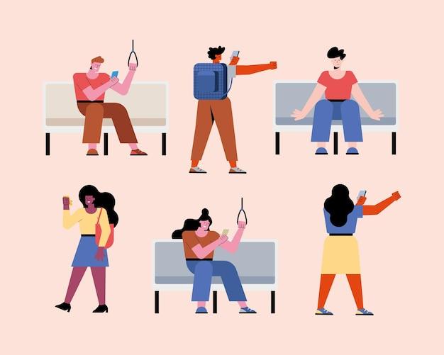 Sei persone nei personaggi della metropolitana