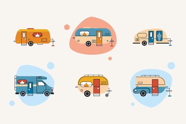 Sei veicoli ricreazionali impostano i colori