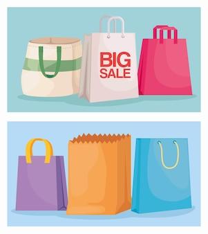 Set di sei borse della spesa