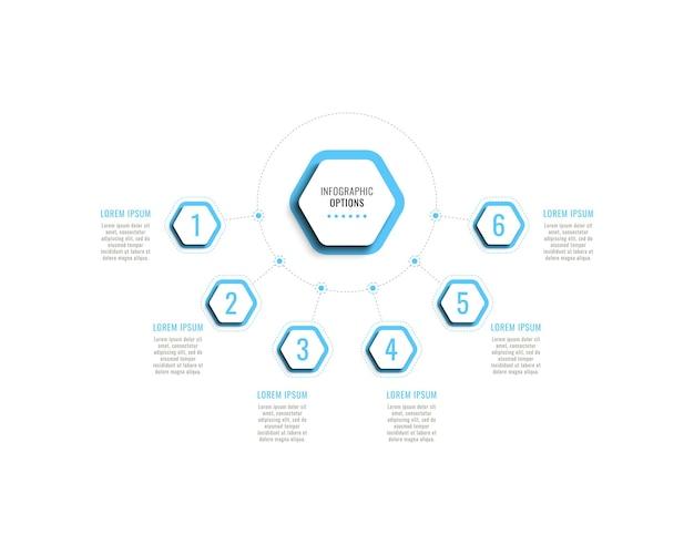 Modello di infografica orizzontale a sei passaggi con elementi esagonali azzurri su sfondo bianco