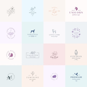 Sedici segni femminili astratti o modelli di logo impostati. illustrazione floreale retrò con tipografia di classe, uccelli, agnello, anatra, segugio, unicorno ed elefante. emblemi di qualità premium.