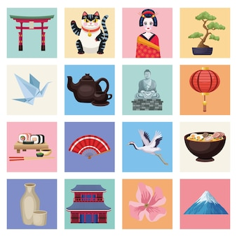 Sedici icone del paese del giappone