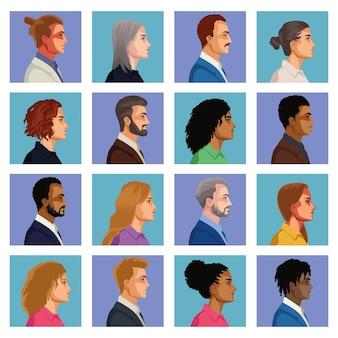 Caratteri di sedici persone