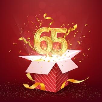 Sessantacinque anni numero anniversario e confezione regalo aperta con elemento di design isolato coriandoli esplosioni