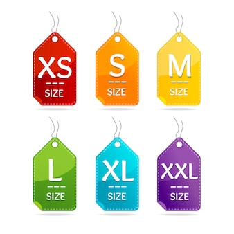 Set di etichette di abbigliamento di dimensioni. impiccagione libera.