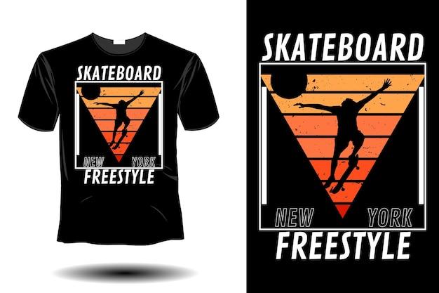 Skateboard new york freestyle mockup design retrò vintage