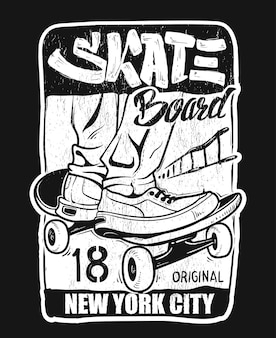 Tipografia di skateboard, grafica t-shirt, design