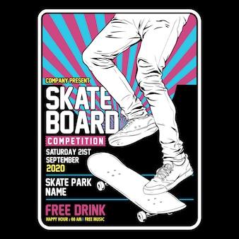 Poster di concetto di skateboard tempelate