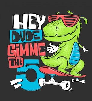 Stampa urbana della maglietta del dinosauro del pattino, illustrazione
