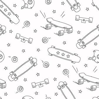 Modello senza cuciture di doodle di skateboard. stelle, ruote, sfondo vettoriale longboard.