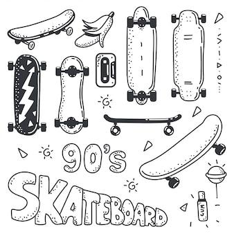 Insieme di vettore dell'elemento di schizzo di doodle di skateboard isolato.