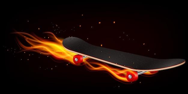 Lo skateboard in fiamme con scintille ha dimostrato l'effetto di un movimento veloce realistico