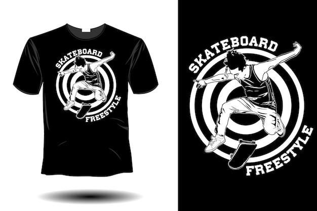 Design vintage retrò di skateboard freestyle mockup