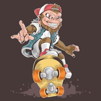 Punk pop della scimmia di skateboard