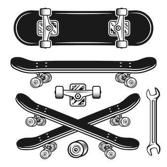 Set di parti di skateboard di oggetti vettoriali ed elementi di design in stile vintage monocromatico isolato su sfondo bianco