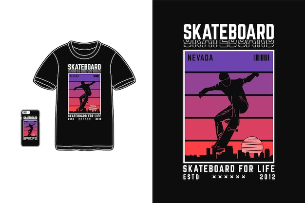Skateboard, t shirt design silhouette stile urbano
