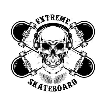 Emblema dello skateboarder. skateboard e teschio incrociati. elemento di design per logo, etichetta, segno.