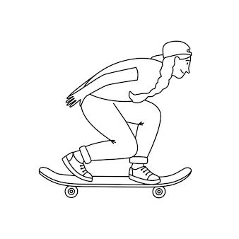 Schizzo di skateboarder. giovane ragazza che salta sul longboard, elementi di schizzo di sport estremo di strada, illustrazione vettoriale di adolescente all'aperto attivo isolato su sfondo bianco