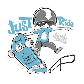 Tipografia skateboarder, grafica t-shirt, design di stampa.