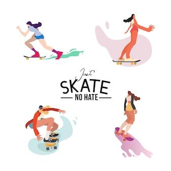 Set di illustrazioni di personaggi di skateboarder ragazze