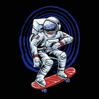 Skateboarding astronauta ride illustrazione