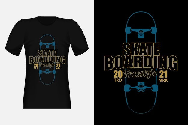 Skateboard freestyle silhouette vintage t-shirt design