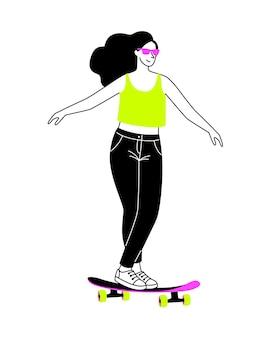 Skateboard per le strade. ragazza del fumetto su longboard, concetto di attività all'aperto attiva a bordo, illustrazione vettoriale di sport urbano estremo isolato su sfondo bianco