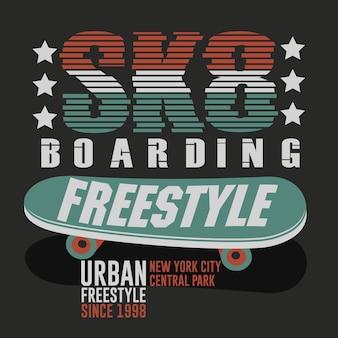 Progettazione grafica di abbigliamento per t-shirt da skateboard. freestyle new york city skate board tipografia emblema tee timbro grafica. vettore