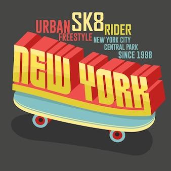 Progettazione grafica di abbigliamento per t-shirt da skateboard. freestyle new york city skate board tipografia emblema tee stamp grafica. vettore