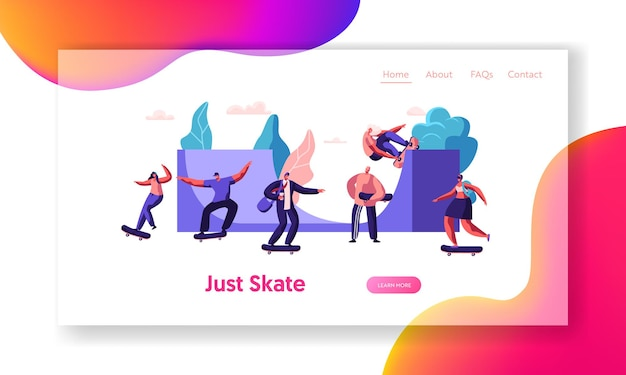 Pagina di destinazione del sito web di skateboard.