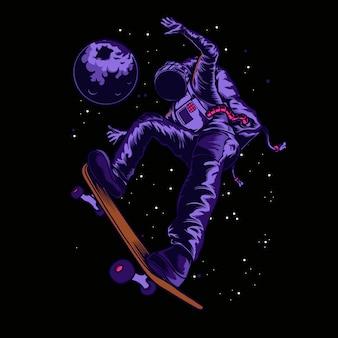 Astronauta di skatebord nell'illustrazione dello spazio