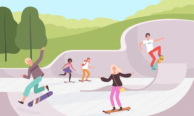 Skate park. attività estreme all'aperto skateboarders lifestyle parco urbano azione caratteri sfondo vettoriale. illustrazione skateboarder all'aperto, skatepark estremo urbano