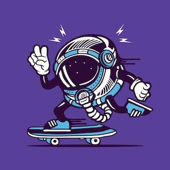 Skater astronaut cosmonaut helmet skateboarding character design
