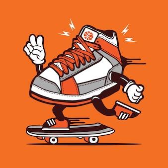 Skater basketball sneakers skateboarding character design
