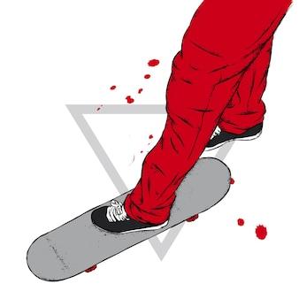 Pattinatore in scarpe da ginnastica di jeans e con uno skateboard