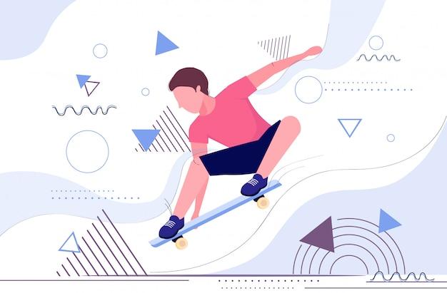 Pattinatore che salta su skateboard eseguendo acrobazie skateboard concetto adolescente maschio