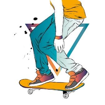 Pattinatore e skateboard
