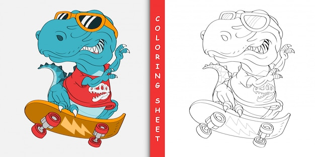 Skater t-rex dinosauro cartoon, foglio da colorare