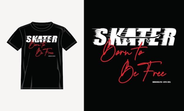 Design della maglietta di tipografia del pattinatore