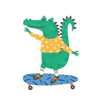 Pattinaggio piccolo coccodrillo illustrazione piatta