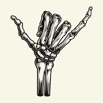 Mano di scheletro che mostra il segno di shaka del surfista isolato