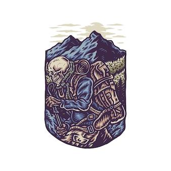 Illustrazione di scheletro escursionismo avventura