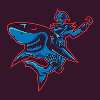 Illustrazione dello squalo dei pirati di scheletro