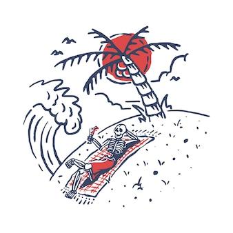 Lo scheletro si rilassa l'illustrazione della spiaggia dell'estate