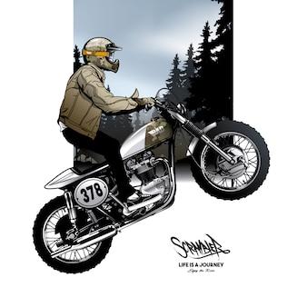 Scheletro, guida, fondo, motocicletta