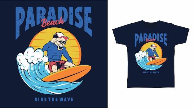 Disegno della maglietta del surfista scheletro