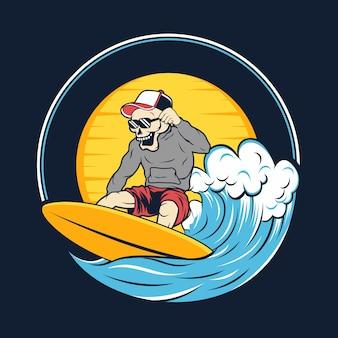 Surfista scheletro con illustrazione di grande onda