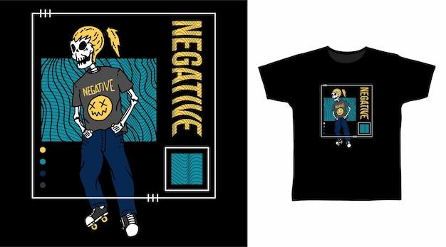 Scheletro con cool fashion per il design di tshirt