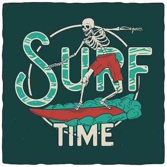 Scheletro con tavola da surf